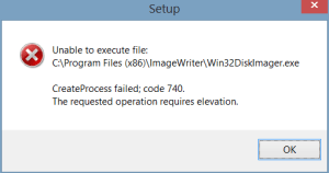 Unable to execute file