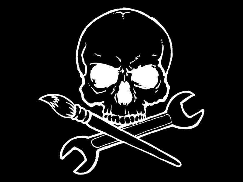 Makers Jolly Roger white on black