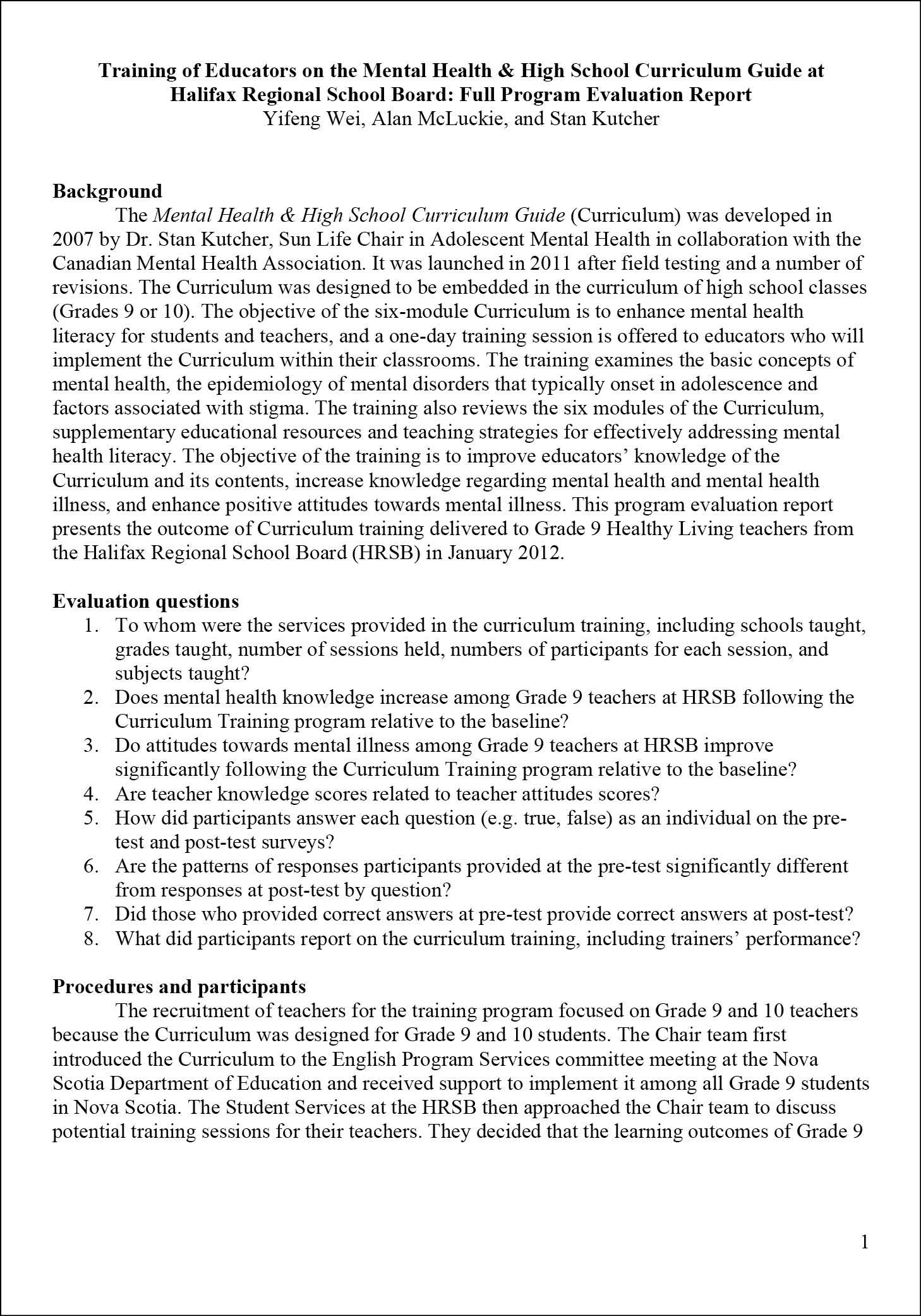 Mental Health  High School Curriculum Training Full Evaluation Report  Part 1  Teen Mental