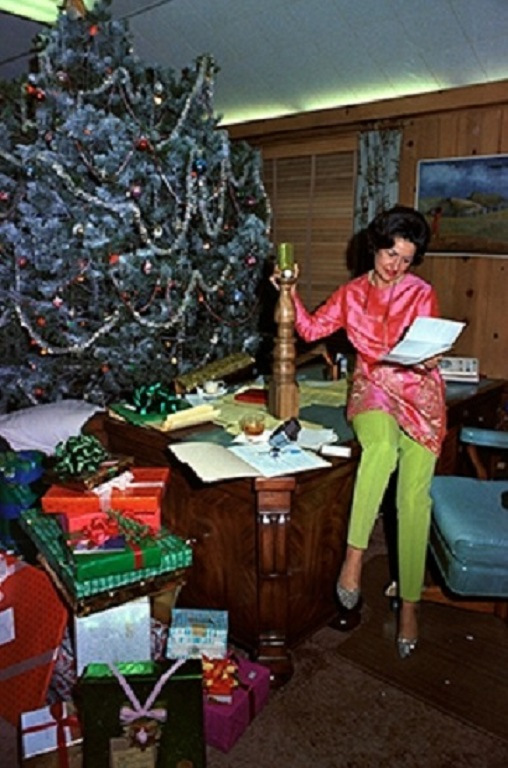 Lady Bird Johnson Looking Over Holiday Gifts From Friends