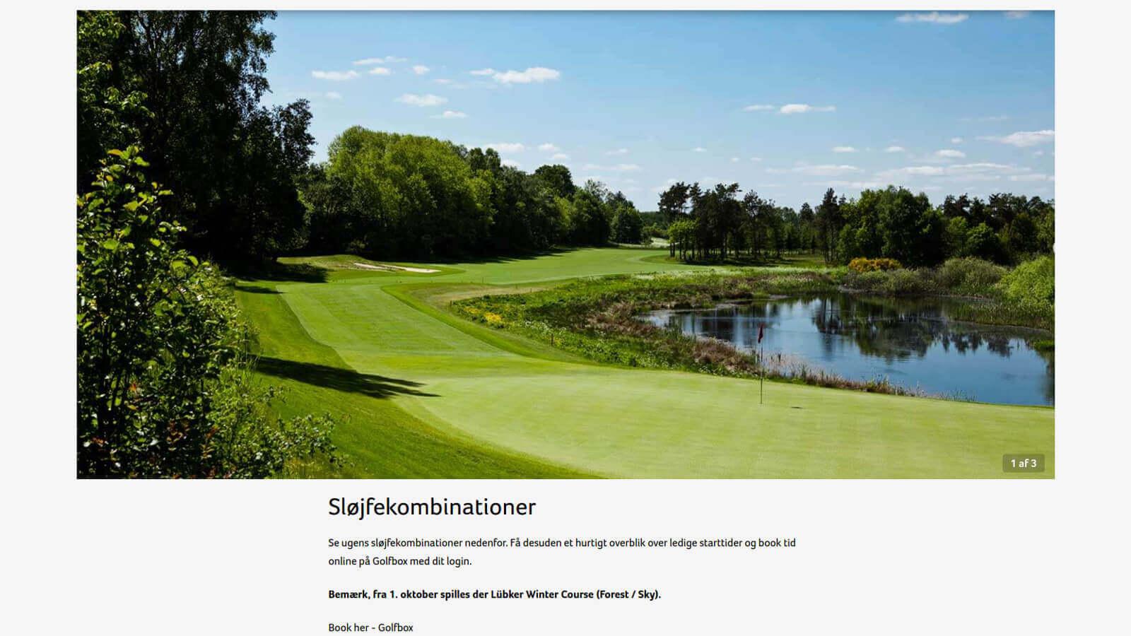 Skjermdump fra hjemmesiden til Lübker Golf Resort