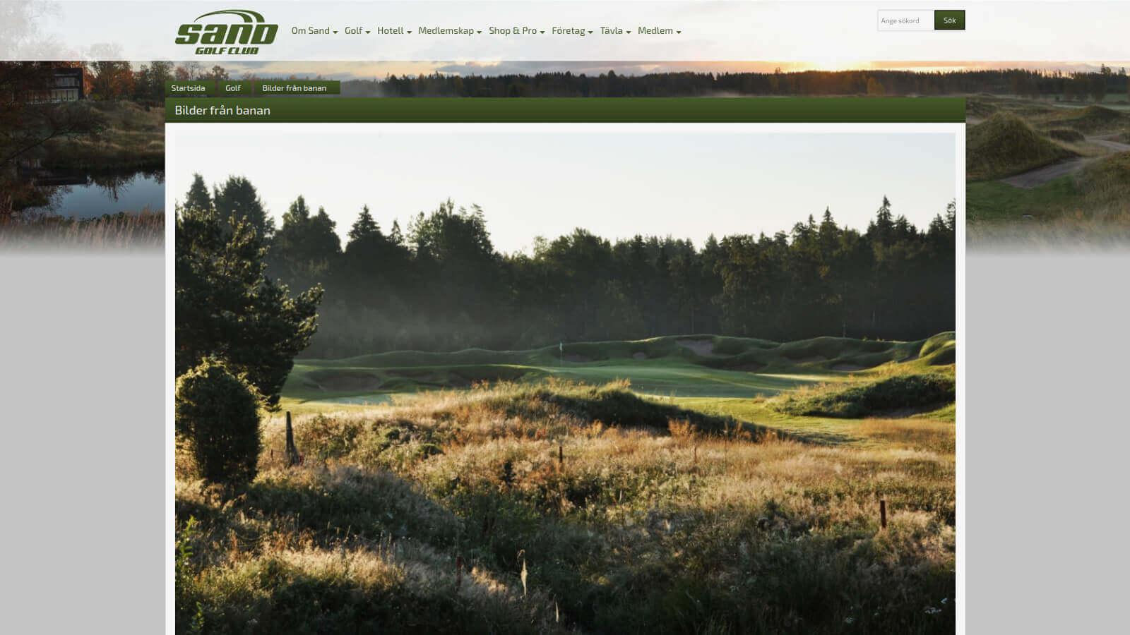 Skjermdump fra hjemmesiden til Sand Golf Course