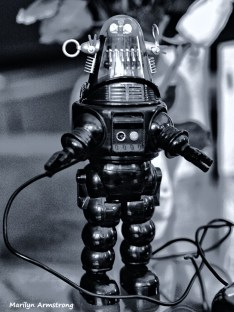 BW robby robot black and white