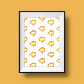 orange pattern lips print