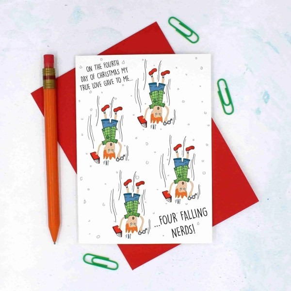 12 Days of Christmas, Nerd Pun Card, Geek Pun Card, Funny Christmas Card, TeePee Creations, Confetti Card, Card for IT Lover, Card for Bookworm, 4 Calling Birds, Christmas Card Set, Christmas Card Pack, 4th Day of Xmas, Funny Holidays Card