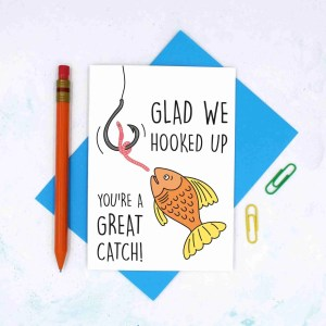 TP Creations, Valentines Day Card, Anniversary Card, Hooked Up Card, One Night Stand, Confetti Card, Cute Love Card, Funny Love Card, Youre a Great Catch, Fishing Pun Card, Card for Girlfriend, Card for Boyfriend, Just Because Card
