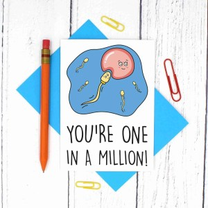 TP Creations, Valentines Day Card, Anniversary Card, One In a Million Pun, Sperm Pun Card, Confetti Card, Cute Love Card, Funny Love Card, Egg Pun Card, Card for Other Half, Card for Girlfriend, Card for Boyfriend, Just Because Card