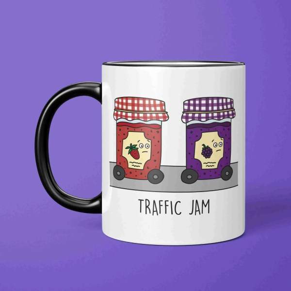 Jam Pun Mug, Funny Present, Tee Pee Creations, Gift for Friend, Jam Illustration, New Home Gift, Traffic Jam Pun, Christmas Present, Food Lover Gift, Gift for Chef, Gift for Baker, Funny Birthday Gift, Driving Test Gift