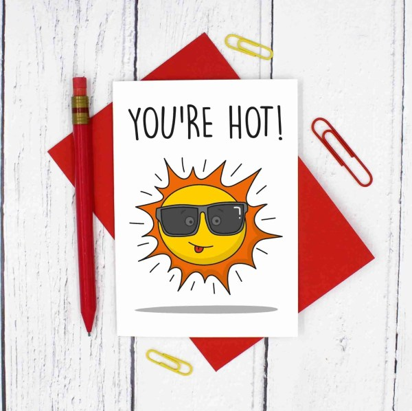 TP Creations, Valentines Day Card, Anniversary Card, Youre Hot Pun, Sun Pun Card, Confetti Card, Cute Love Card, Funny Love Card, Cheeky Love Card, Card for Other Half, Card for Girlfriend, Card for Boyfriend, Just Because Card