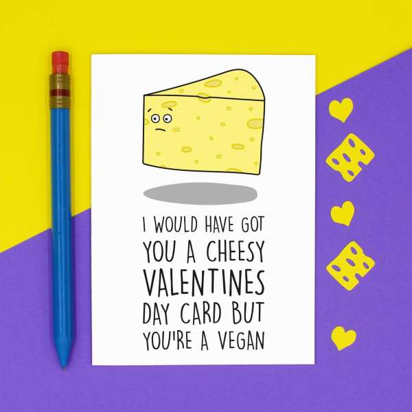 TP Creations, Valentines Day Card, Confetti Card, Vegan Card, Cheesy Love Card, Funny Love Card, Card for Boyfriend, Card for Girlfriend, Dairy Free Card, Cheese Lover Card, Rude Love Card, Funny Pun Card, Meat Free Card