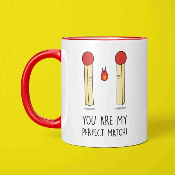 Funny Pun Mug, Perfect Match Mug, Valentines Day Gift, Anniversary Gift, Match Pun Mug, Just Because Gift, Gift for Boyfriend, Gift for Girlfriend, Two Tone Mug, Red Handle Mug, TeePee Creations, Present for Partner, I Love You Present