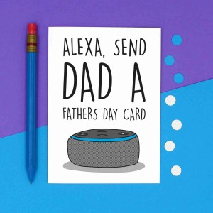 Funny Alexa Pun, TePe Creations, Confetti Card, Fathers Day Card, Card for Tech Lover, Alexa Command Card, Blank Card, Technology Lover, IT Lover Card, Card for Nerd, Card for Dad, Card for Stepdad, Alexa Send Card