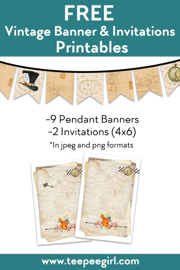 Free Vintage Banner & Invitations Printable from www.TeepeeGirl.com