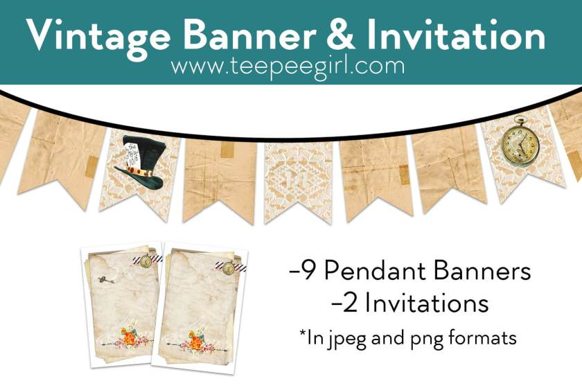 Free Vintage Banner & Invitations Printable from www.TeepeeGirl.com