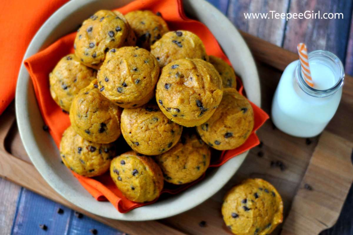 Chocolate Chip Pumpkin Muffins. These moist and flavorful muffins are so easy to make! Bring the flavors, colors, and scents of fall into your home with these delicious and moist pumpkin muffins. www.TeepeeGirl.com