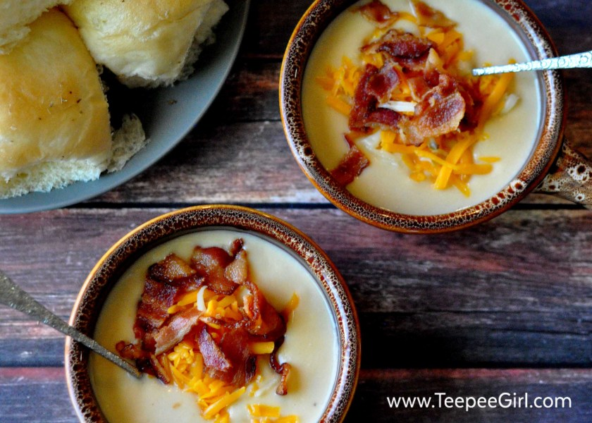 This cauliflower cheese soup is heaven in a bowl! Creamy, cheesy, and totally satisfying, this soup will make you a super star at your dinner table or any social event. Get it today at www.TeepeeGirl.com.