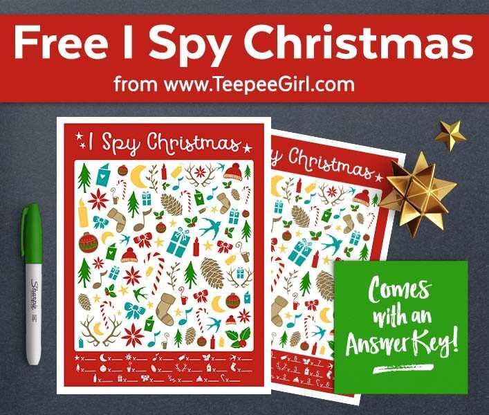 This free I Spy Christmas game is sure to keep all the kids happy and busy this holiday season! It even comes with an answer sheet. Get yours today at www.TeepeeGirl.com!