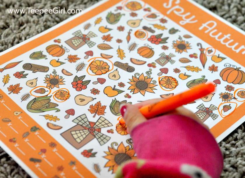 This free I Spy Autumn printable game is the perfect way to keep kids busy this holiday season! The pictures are cute and the game is engaging for both older and younger children. It comes with an answer key and can be laminated to use again and again. Get your free copy today at www.TeepeeGirl.com.