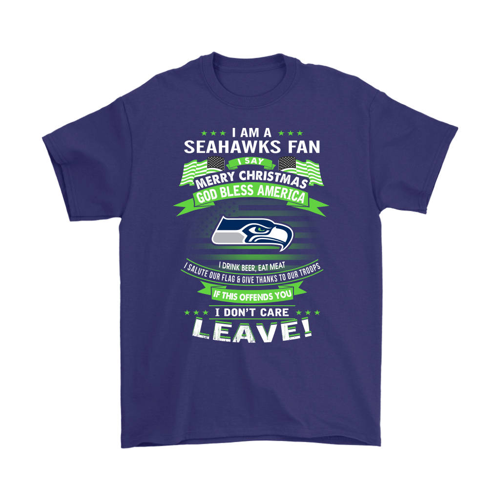 A Seattle Seahawks Fan Merry Christmas God Bless America Shirts 3