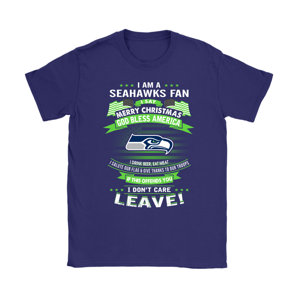 A Seattle Seahawks Fan Merry Christmas God Bless America Shirts 9