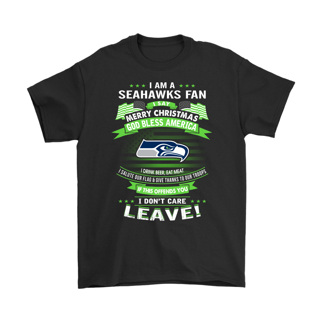 A Seattle Seahawks Fan Merry Christmas God Bless America Shirts 1