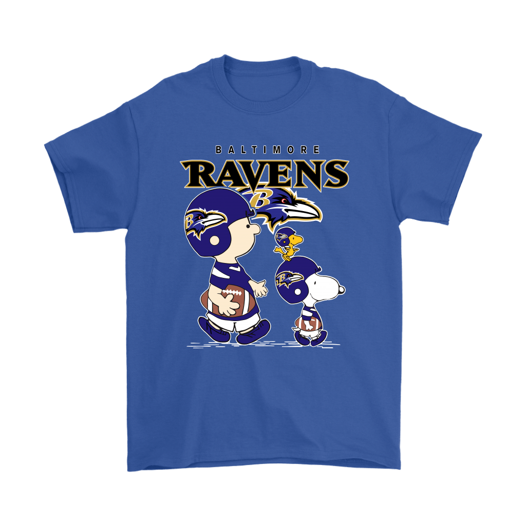 Baltimore Ravens Let's Play Football Together Snoopy NFL Shirts 5
