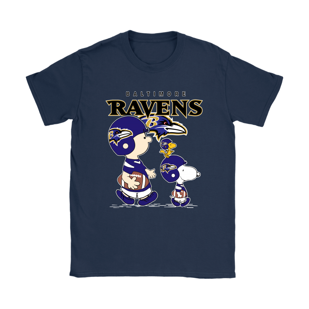 Baltimore Ravens Let's Play Football Together Snoopy NFL Shirts 9