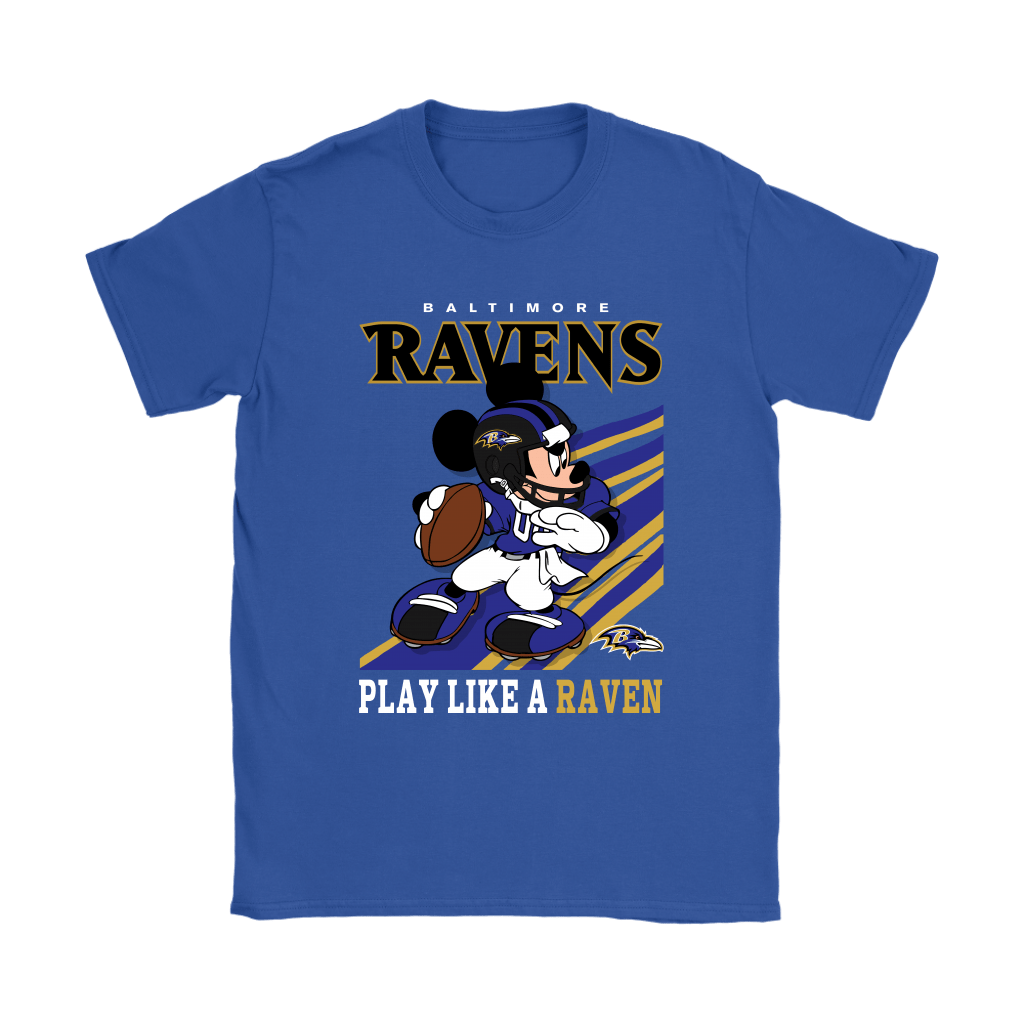 Baltimore Ravens Slogan Play Like A Raven Mickey Mouse NFL Shirts 11