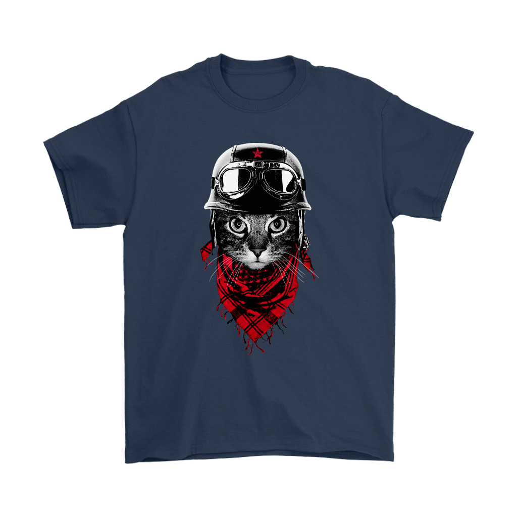 Cat With Red Scarf And Biker Helmet Biker Cat Style Shirts 3