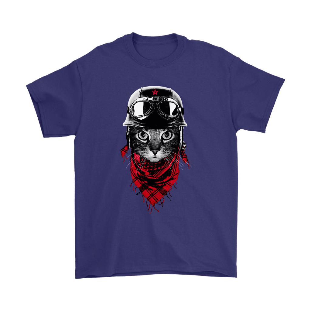 Cat With Red Scarf And Biker Helmet Biker Cat Style Shirts 4
