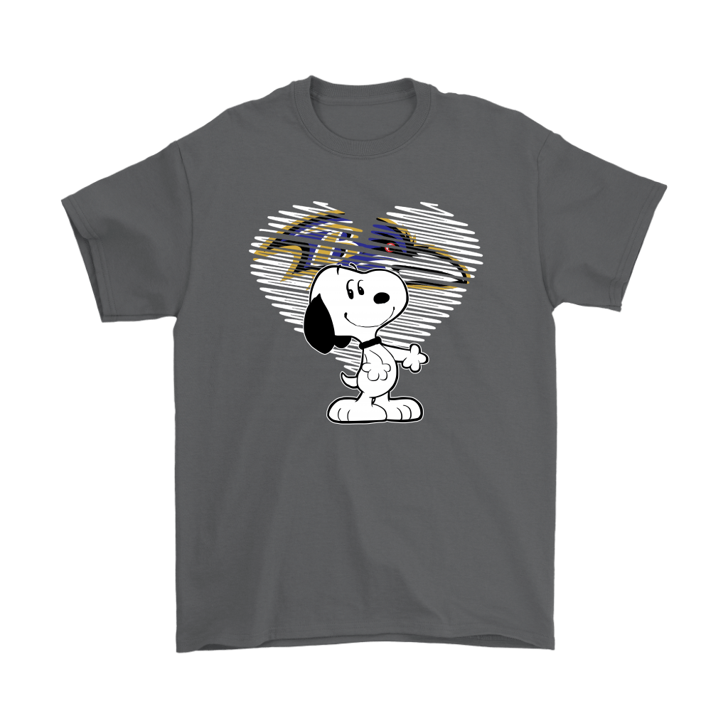 I Love Baltimore Ravens Snoopy In My Heart NFL Shirts 2