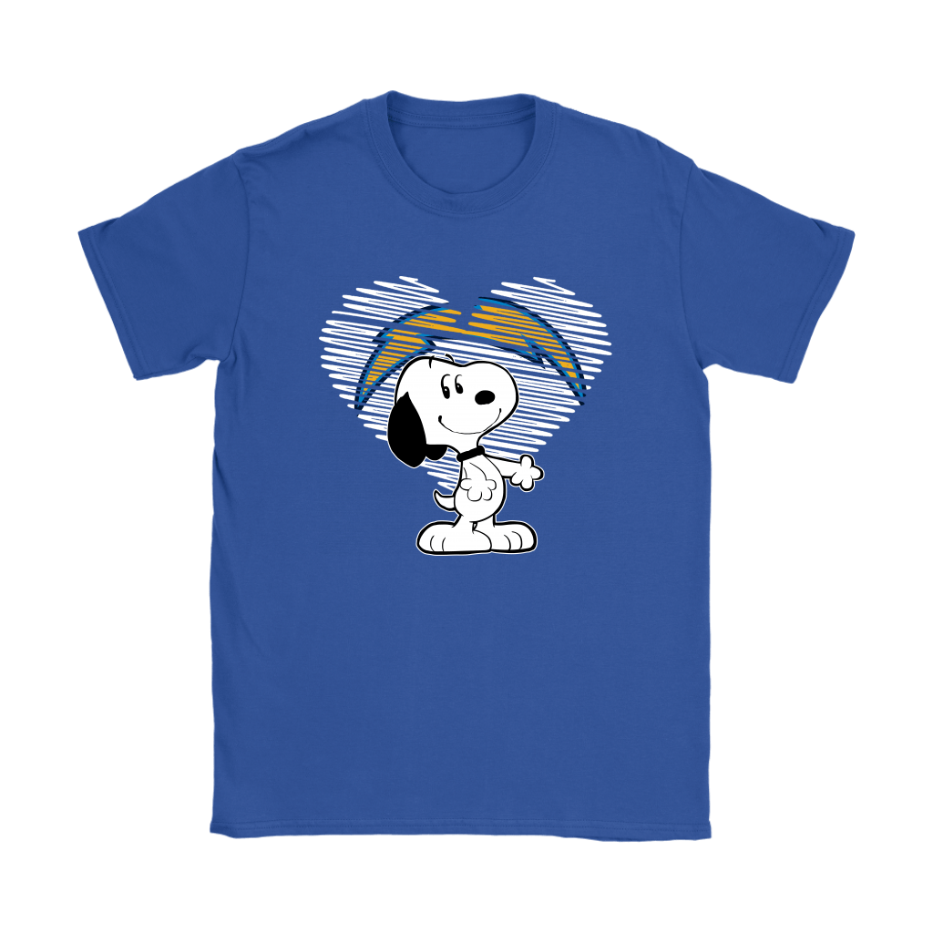 I Love Los Angeles Chargers Snoopy In My Heart NFL Shirts 11