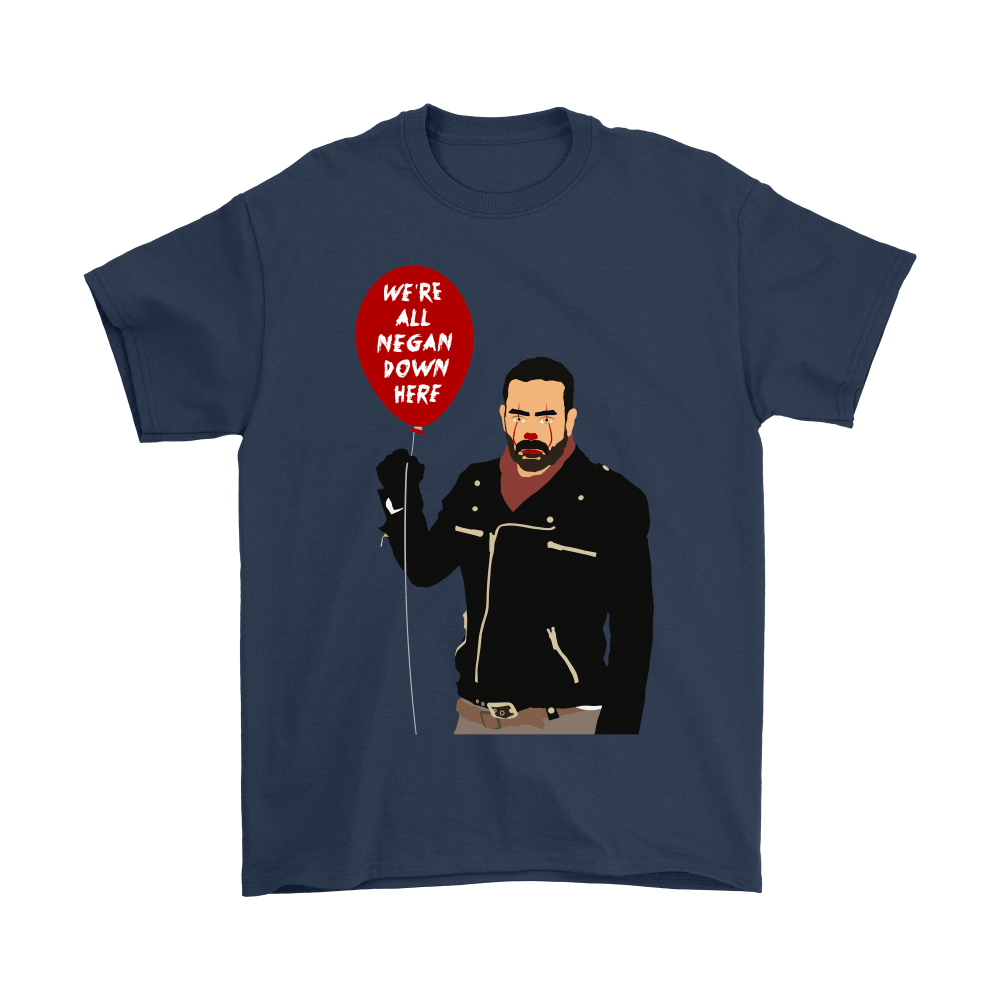 IT Pennywise And Walking Dead Parody Negan Down Here Stephen Shirts 3