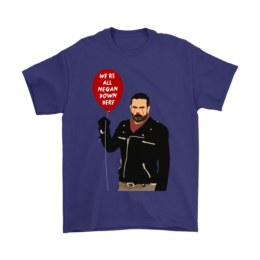 IT Pennywise And Walking Dead Parody Negan Down Here Stephen Shirts 4