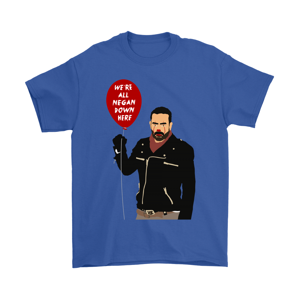 IT Pennywise And Walking Dead Parody Negan Down Here Stephen Shirts 6