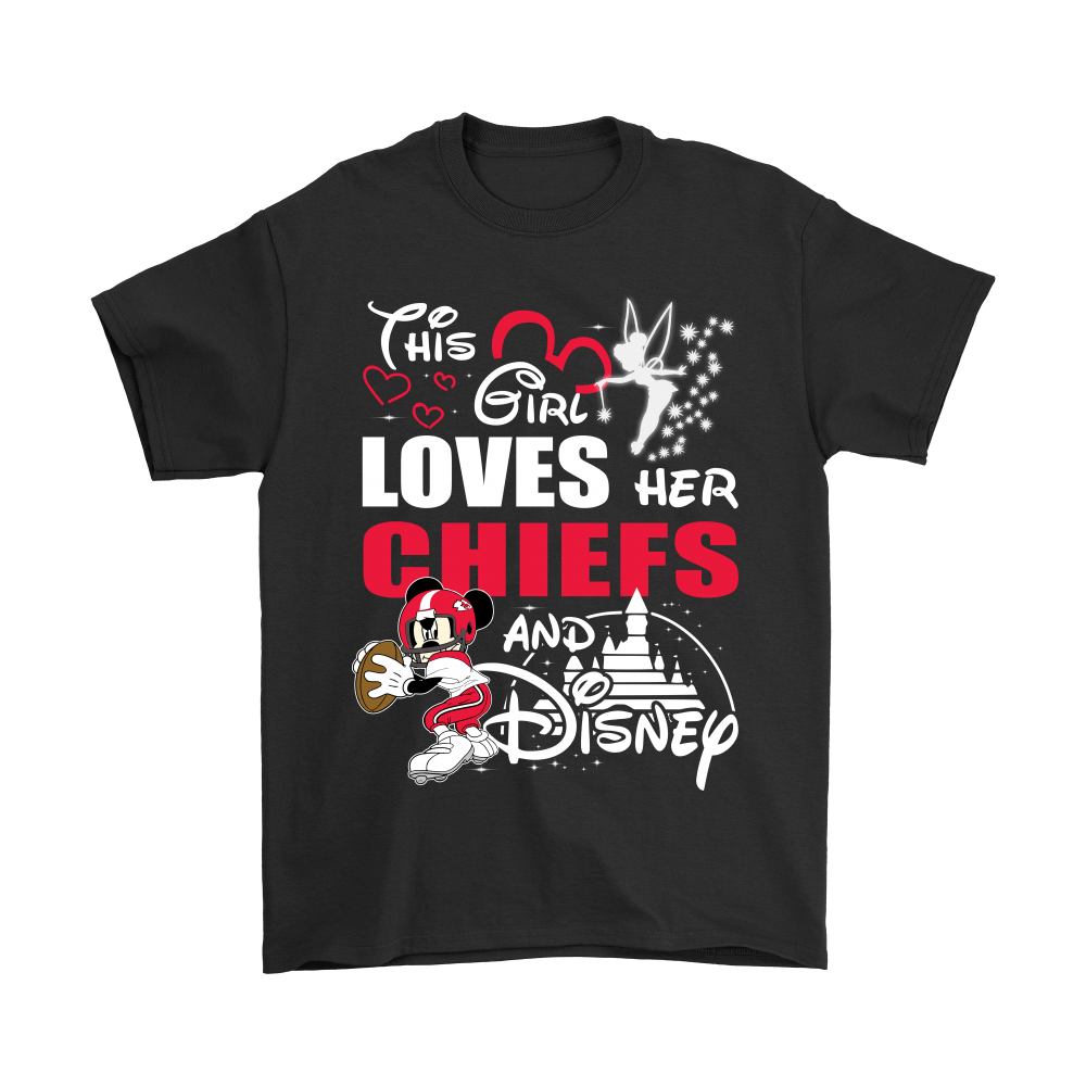 This Girl Loves Her Kansas City Chiefs And Mickey Disney Shirts 1