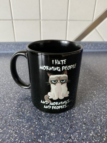 I Hate Morning People And Morning And People Grumpy Cat Black Mug photo review