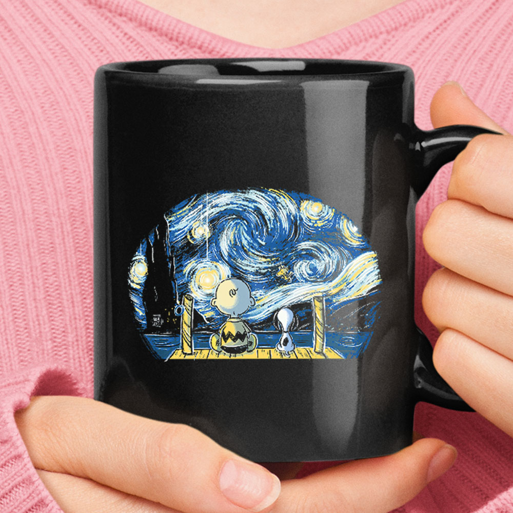 Snoopy And Charlie Brown Watching The Starry Night Black Mug 1