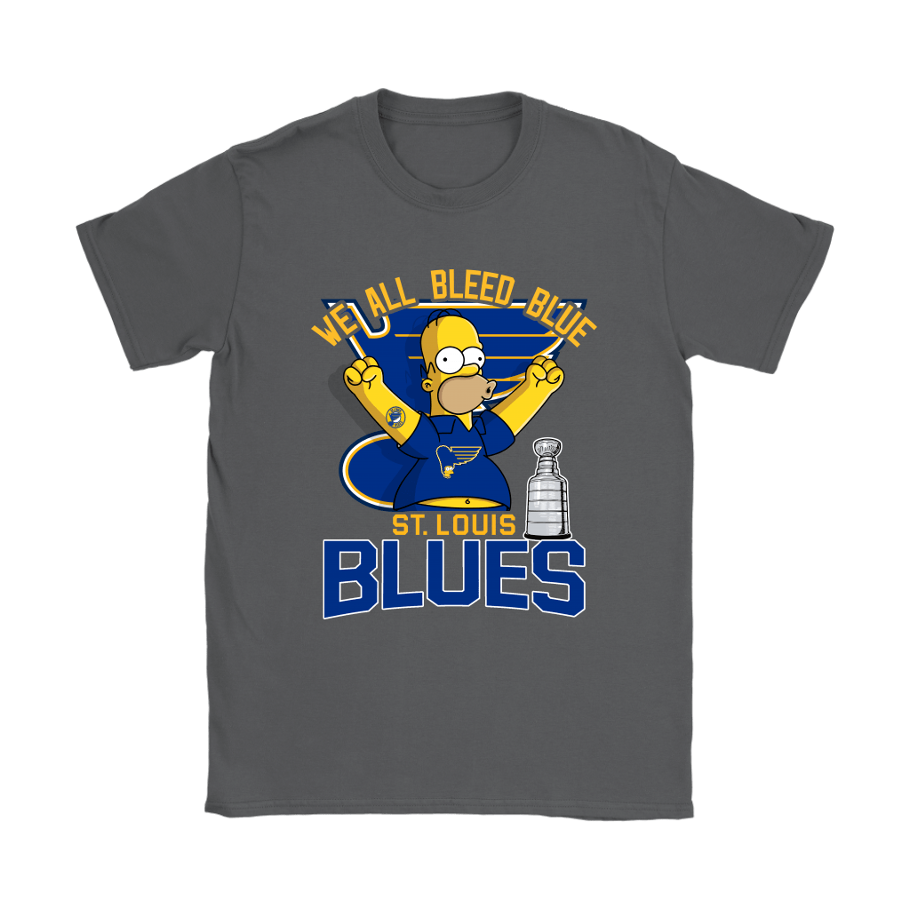 We All Bleed Blue Homer Simpson St. Louis Blues 2019 Stanley Shirts 10