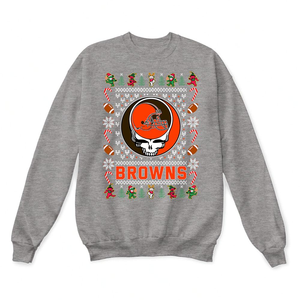 Cleveland Browns Christmas Sweater.Cleveland Browns X Grateful Dead Christmas Ugly Sweater