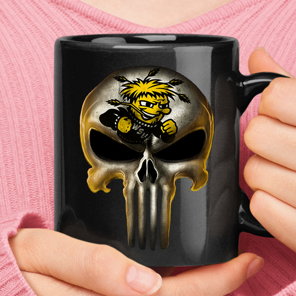 Wichita State Shockers The Punisher Mashup NCAA Football Mug 1