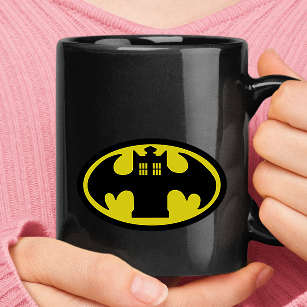 Doctor Who Tardis And Batman Logo Mashup Mug 1