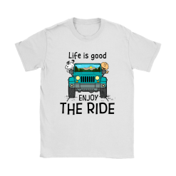 Life Is Good Enjoy The Ride Snoopy And Charlie Brown Jeep Shirts 3