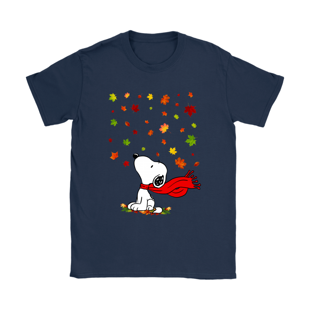 Autumn Maple Leaves Falling Red Scarf Snoopy Thanksgiving Shirts 8