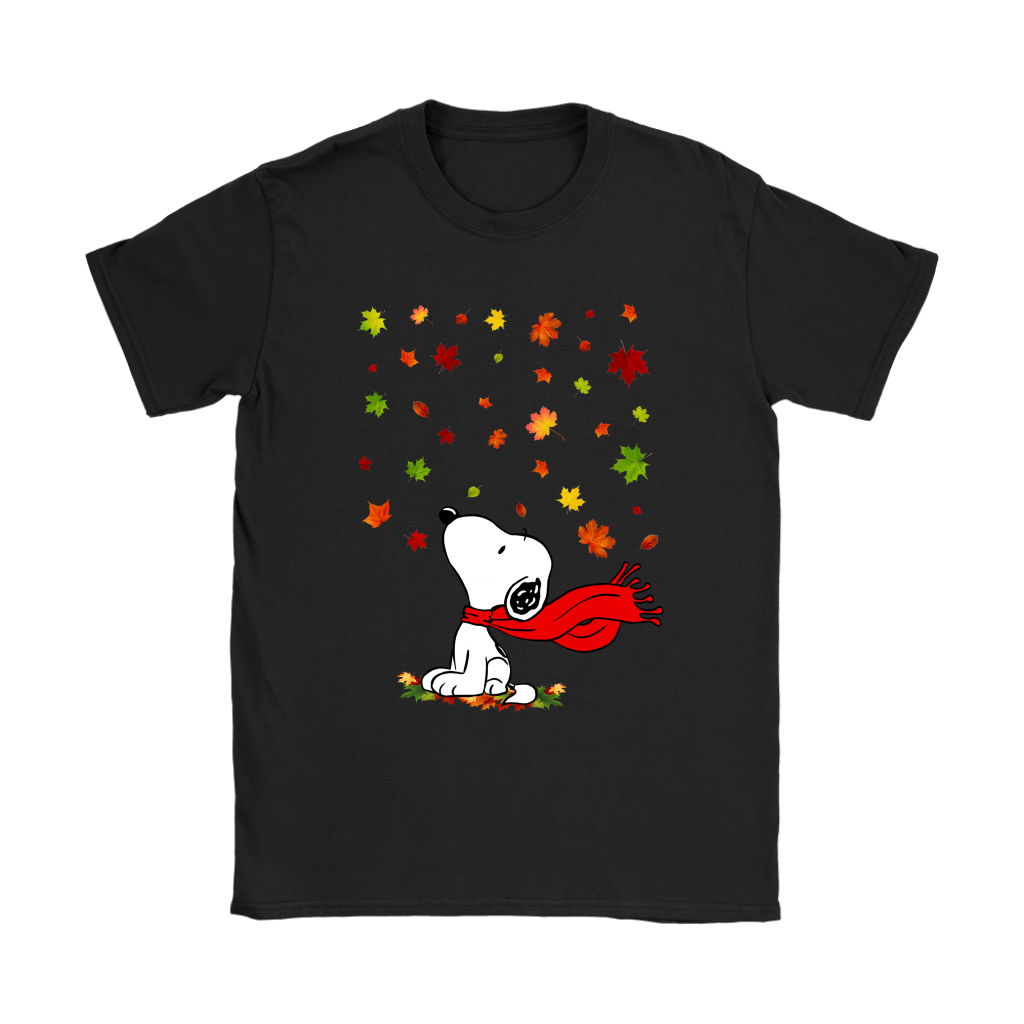 Autumn Maple Leaves Falling Red Scarf Snoopy Thanksgiving Shirts 6