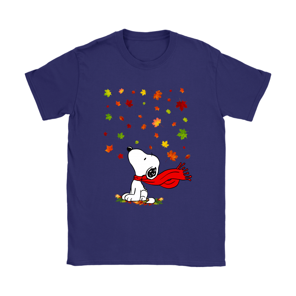 Autumn Maple Leaves Falling Red Scarf Snoopy Thanksgiving Shirts 9