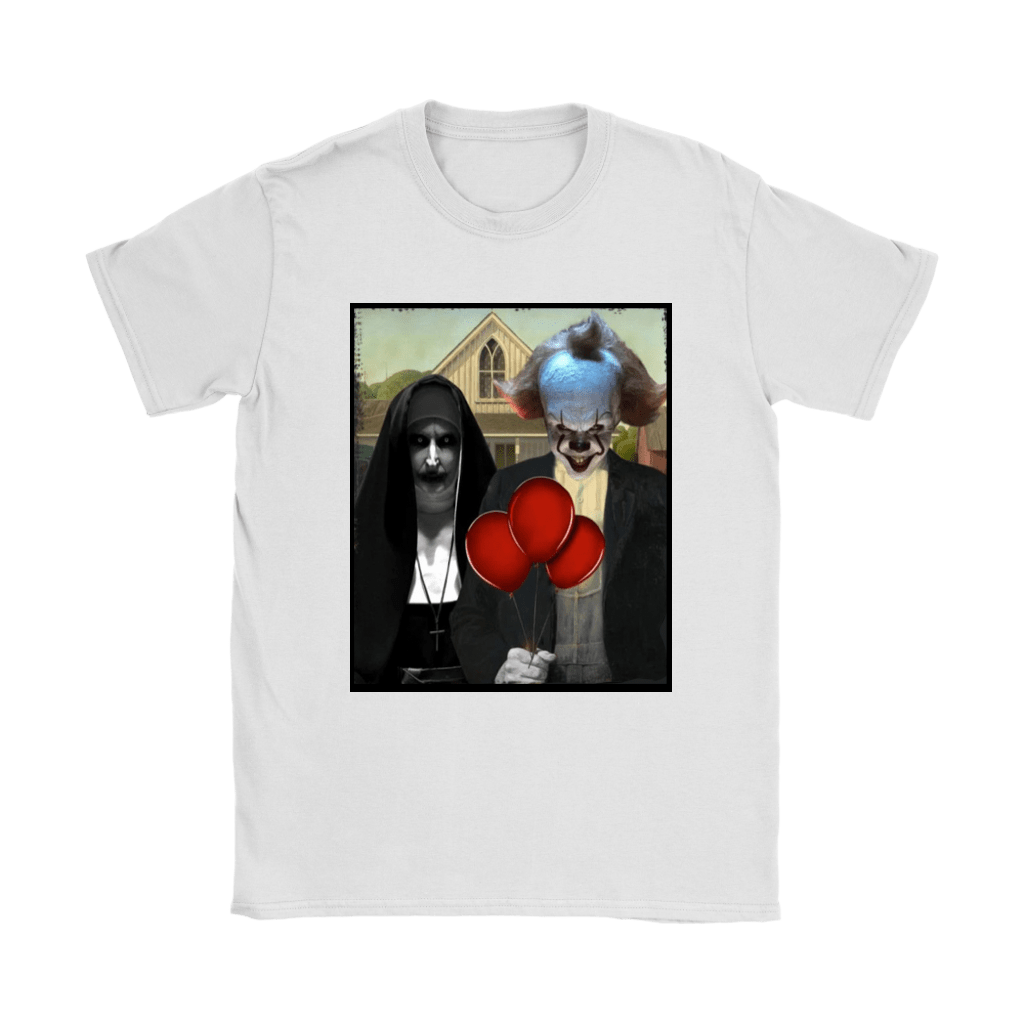 The Nun Valak And Pennywise Horror Mashup Shirts 13