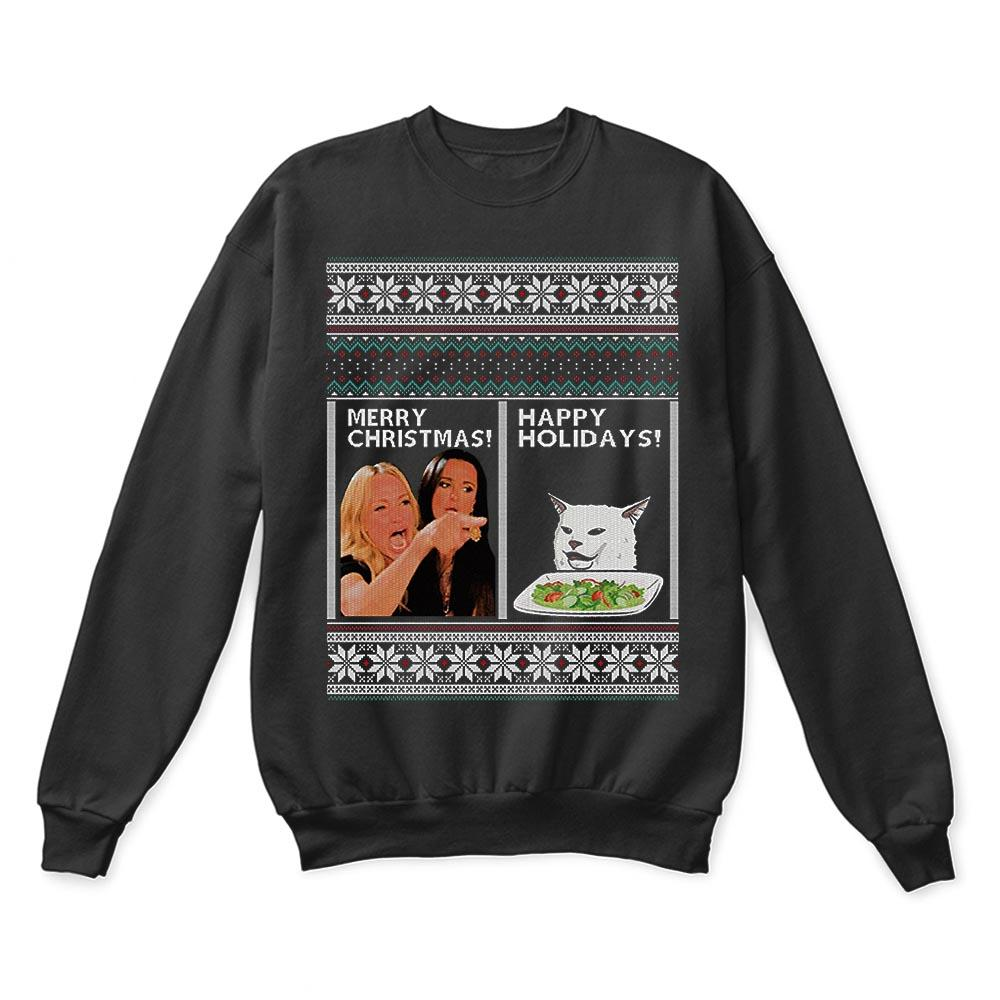 Woman Yelling At A Cat Merry Christmas Or Happy Holiday Ugly Sweaters 1