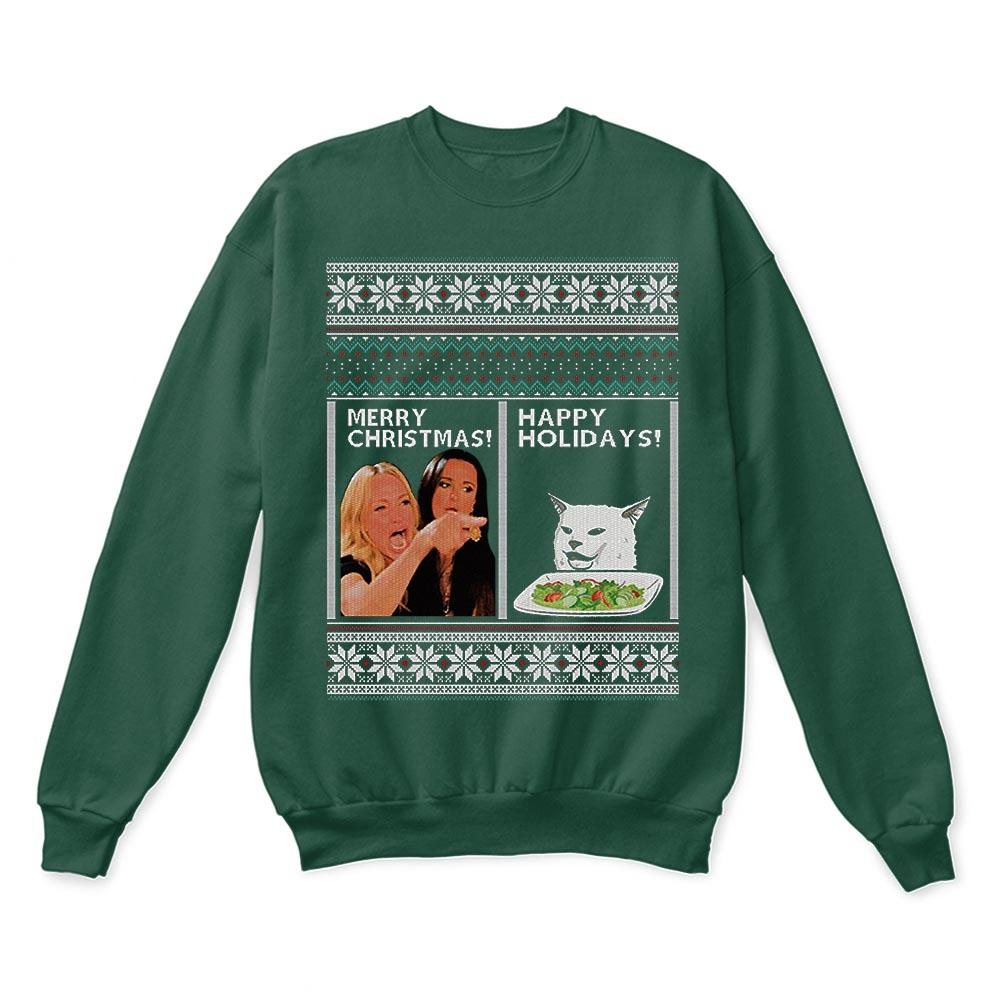Woman Yelling At A Cat Merry Christmas Or Happy Holiday Ugly Sweaters 4
