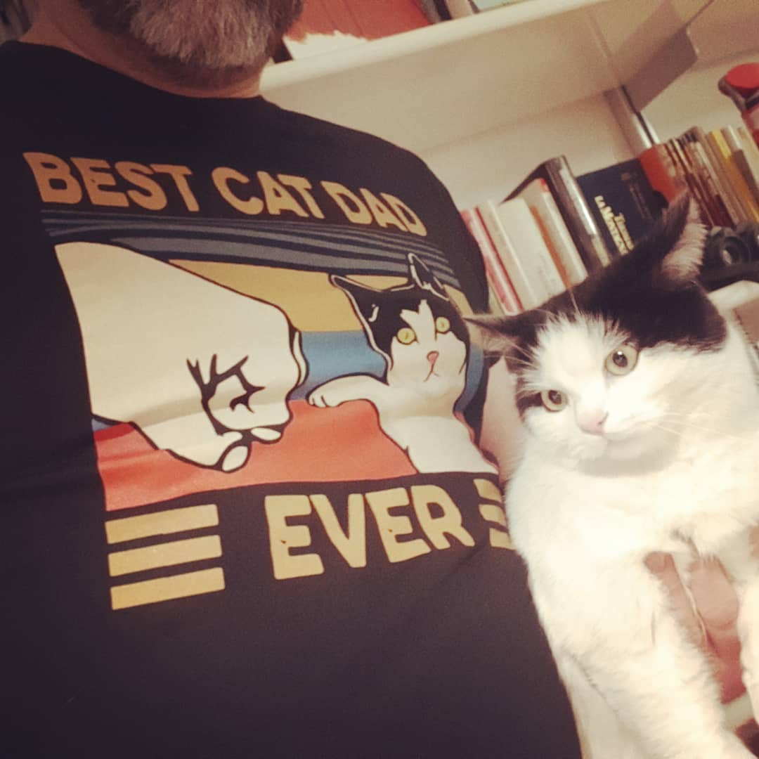 Best Cat Dad Ever Fist Bump With Cat Vintage Shirts photo review